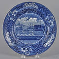 Historical blue Staffordshire Landing of Lafayette plate 19th c