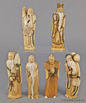 Set of six Japanese carved ivory immortals