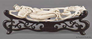 Chinese carved ivory figure of a reclining female in the clouds