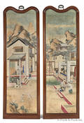 Pair of Chinese painted paper panels