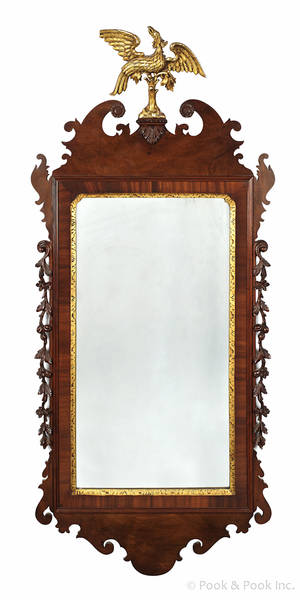 Federal style mahogany looking glass