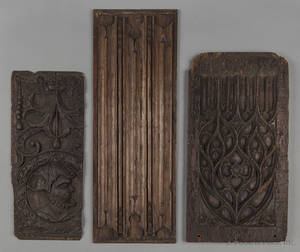 Three Continental carved oak panels