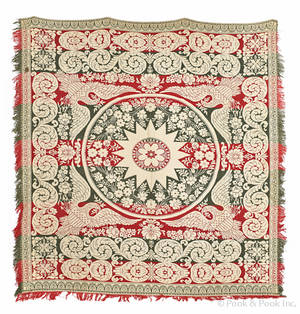 American green and red jacquard coverlet ca 1840