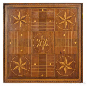 Parquetry inlaid Parcheesi board late 19th c