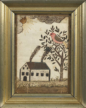 Pennsylvania watercolor on paper fraktur bookplate 19th c
