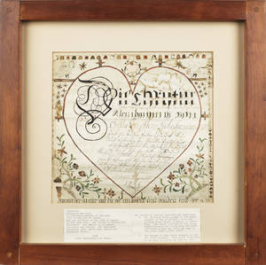 Pennsylvania watercolor and ink on paper fraktur for