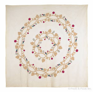 Appliqu quilt with birds on a floral wreath ca 1870