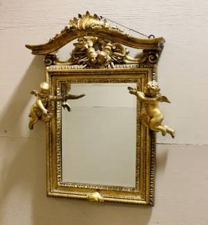 19th C Italian Carved Gilt Wood Mirror