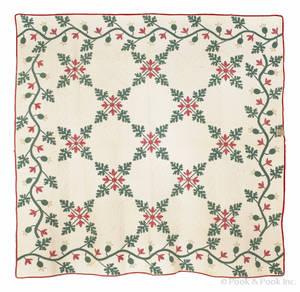 Appliqu and trapunto oak leaf quilt ca 1860