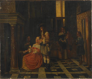 Oil on canvas interior scene in the manner of Pieter de Hooch