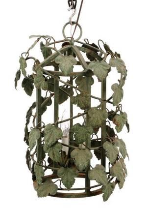 Green Tole Peinte 3Light Ivy Motif Chandelier