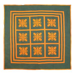 Lebanon County Pennsylvania Mennonite oak leaf appliqu quilt late 19th c