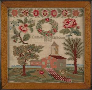 Berks County Pennsylvania wool needlework dated