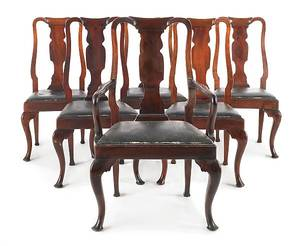 Set of six George III style mahogany dining chairs