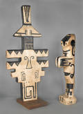 Two abstract terra cotta sculptures
