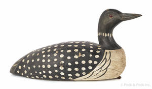 Carved and painted loon decoy