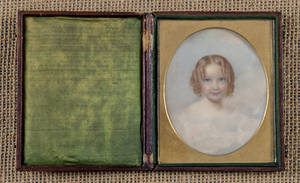 American miniature watercolor on ivory portrait of a young girl mid 19th c