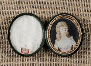 American miniature watercolor on ivory portrait of a young woman early 19th c