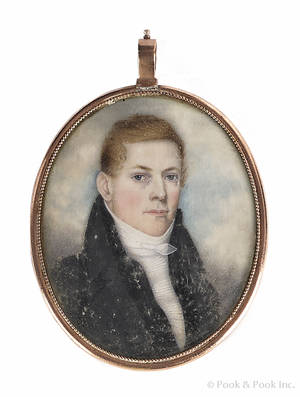 American miniature watercolor on ivory portrait of a gentleman ca 1830