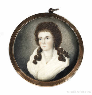 New England miniature watercolor on ivory portrait of a woman early 19th c