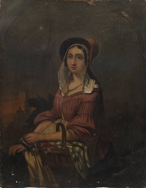 Oil on panel portrait of a young woman with a basket ca 1830