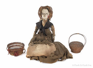 Carved and painted peg wooden doll early 19th c