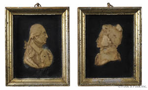 Pair of wax portrait framed busts of George and Martha Washington