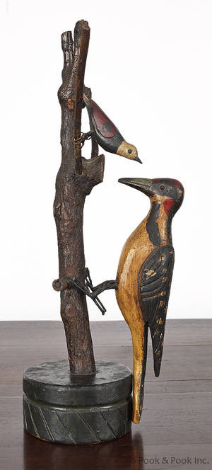Carved and painted rocking woodpecker early 20th c