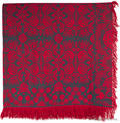 Berks County Pennsylvania red and blue jacquard coverlet ca 1845