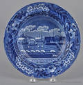 Historical blue Staffordshire Landing of Lafayette shallow bowl 19th c
