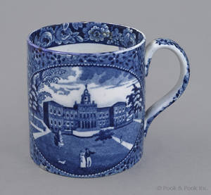 Historical blue Staffordshire Boston State House and New York City Hall mug 19th c