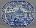 Historical blue Staffordshire Boston State House well and tree platter 19th c