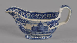 Historical blue Staffordshire Boston State House gravy boat 19th c