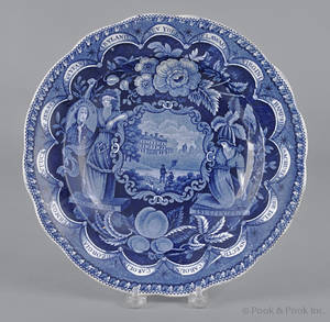 Historical blue Staffordshire America and Independence soup bowl 19th c