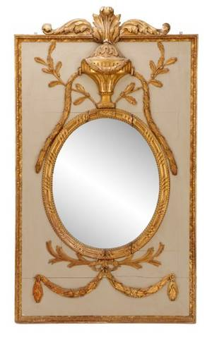 French Painted and Parcel Gilt Trumeau Mirror