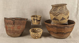 Group of five Native American baskets
