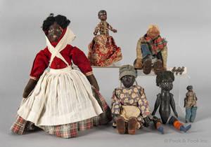 Collection of six black Americana dolls