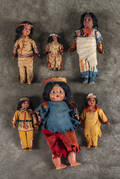 Five bisque Native American dolls