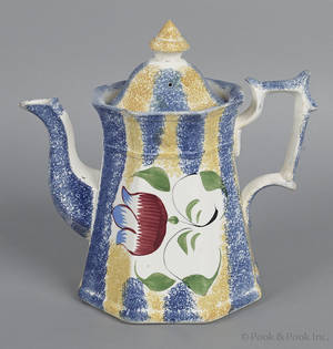 Yellow and blue rainbow spatter coffee pot 19th c