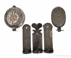 Five tin wall sconces 19th c