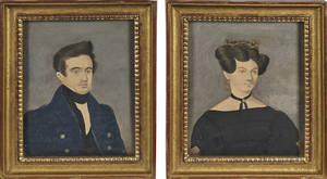 Pair of pencil watercolor and gouache portraits of a man and woman ca 1840