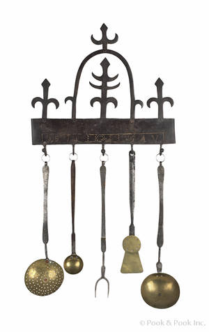 Assembled Pennsylvania wrought iron and brass utensil set