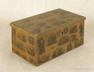Pennsylvania painted and decoupage dresser box 19th c