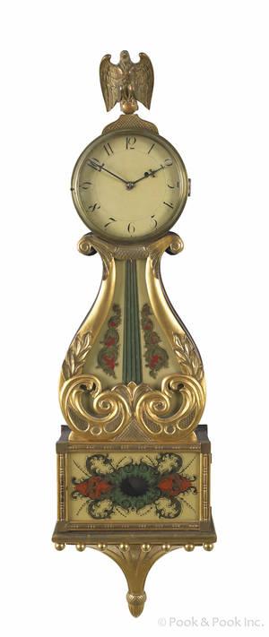 Killam  Co Pawtucket Rhode Island mahogany and giltwood banjo clock ca 1860