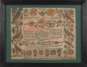 Ephrata Cloister printed and hand colored fraktur birth certificate dated