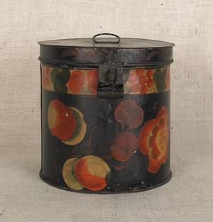Black tole lidded canister 19th c