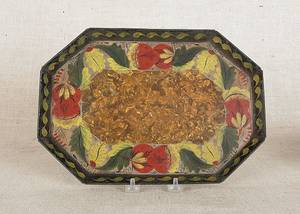 Pennsylvania black tole octagonal tray 19th c