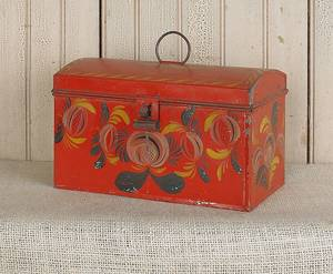 Red tole dome lid document box 19th c