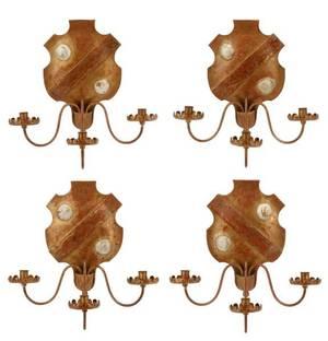 Four Tole Peinte Armorial Shield Candle Sconces