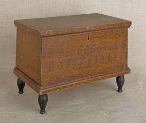 Miniature Pennsylvania painted pine blanket chest mid 19th c